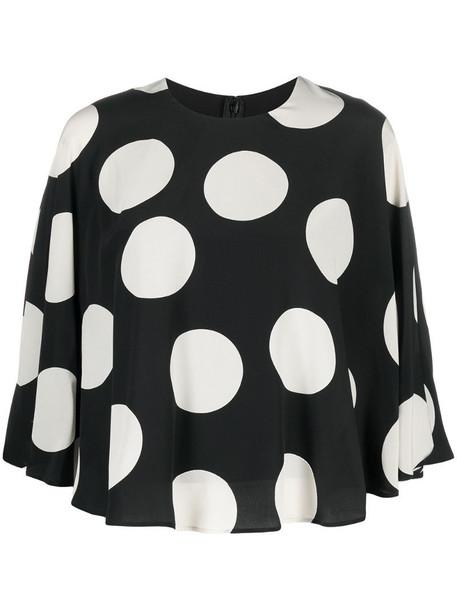 Valentino polka dot print cape-style blouse in black