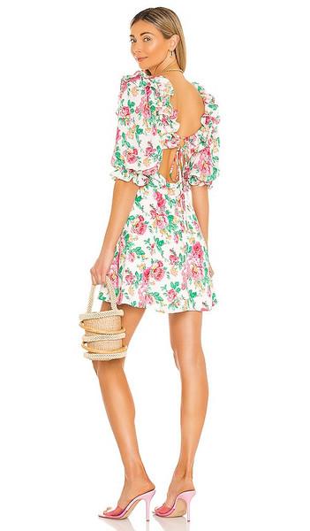 For Love & Lemons Imogen Mini Dress in Pink in ivory