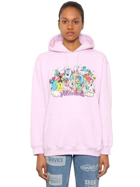 VETEMENTS Oversize Unicorn Sweatshirt Hoodie in pink