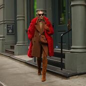 bag,brown bag,gucci bag,brown boots,suede boots,knee high boots,skinny pants,brown coat,double breasted,red coat,faux fur coat,turtleneck,leather gloves