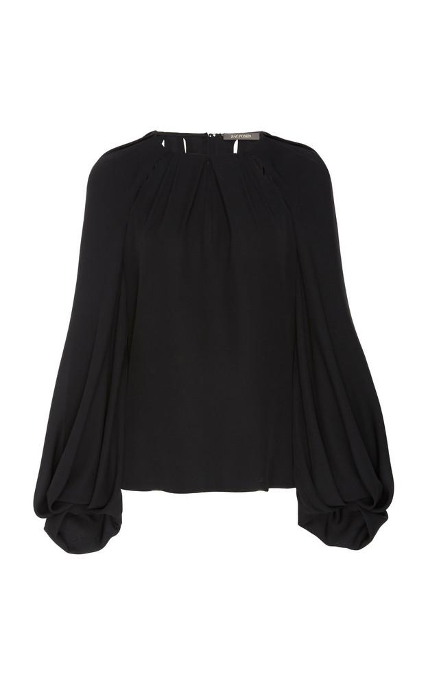 Zac Posen Cut Out Silk Blouse in black