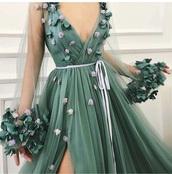 dress,baby pink,tulle prom dress,hunter green,long prom dress,long sleeve dress,flowers