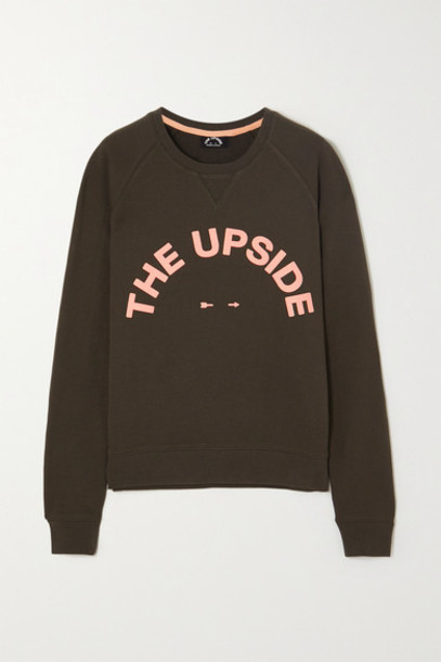The Upside - Bondi Crew Printed Cotton-terry Sweatshirt - Army green