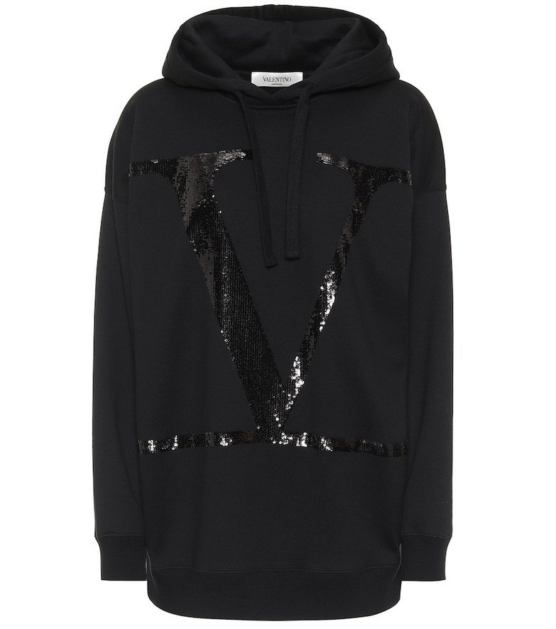 Valentino VLOGO sequined cotton jersey hoodie in black
