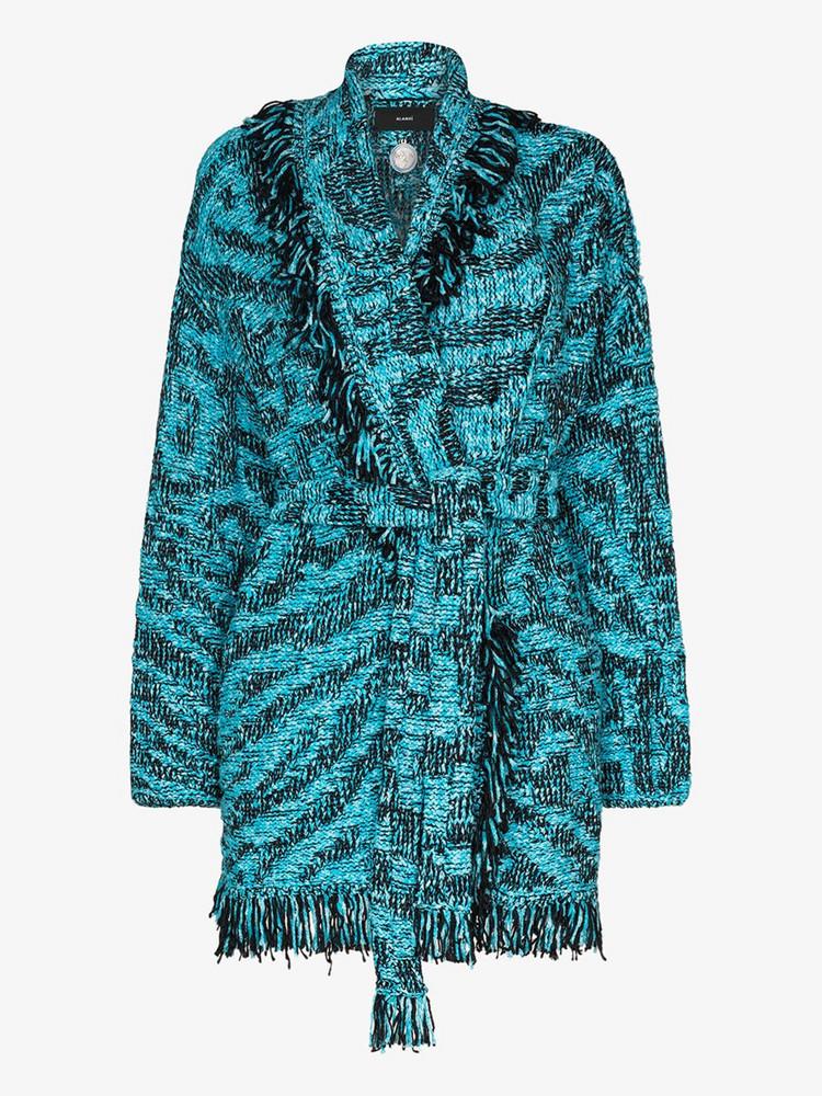 Alanui Pool tasseled cotton cardigan in blue
