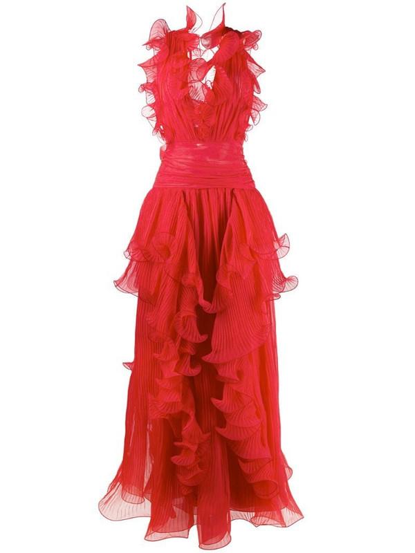 Alberta Ferretti ruffled silk gown in red