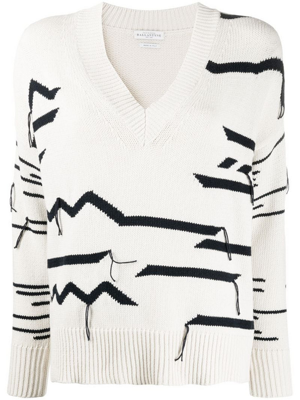 Ballantyne abstract patterned distressed effect jumper in neutrals