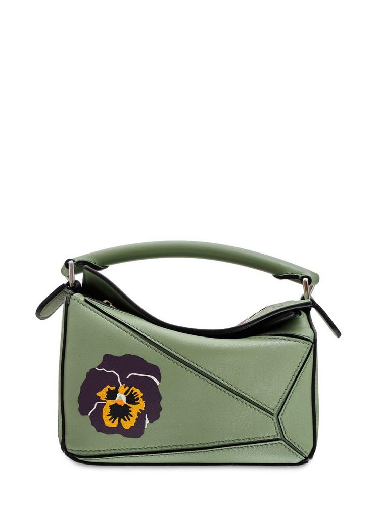 LOEWE Mini Puzzle Pansies Print Leather Bag