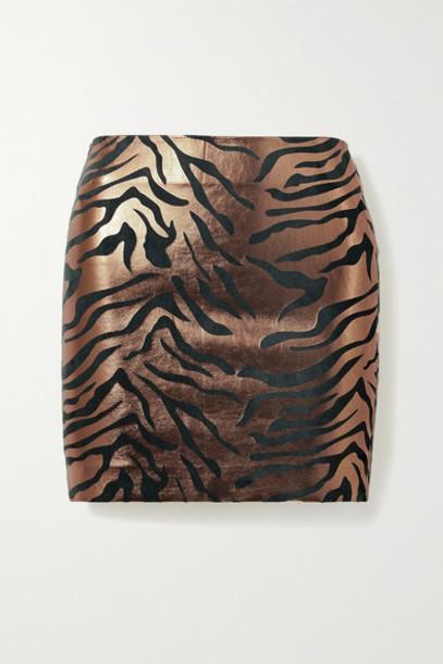 SPRWMN - Metallic Zebra-print Leather Mini Skirt - Copper