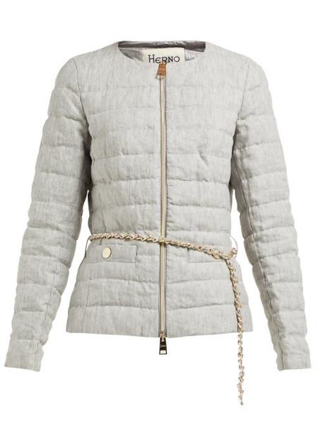 jacket zip quilted grey