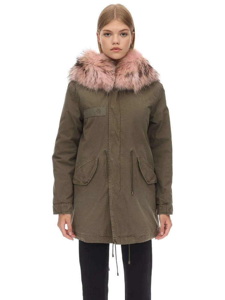 MR & MRS ITALY Midi Cotton Canvas Parka W/ Fur Detail in green / pink