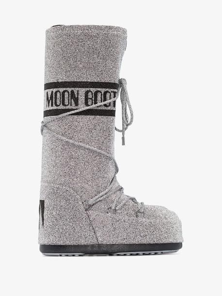 Moon Boot silver classic Swarovski snow boots