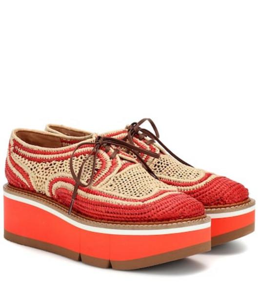 Clergerie Acajou raffia platform oxford shoes in orange