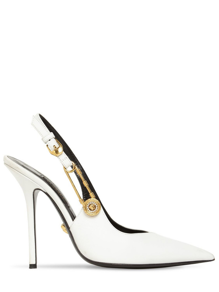 VERSACE 110mm Patent Leather Slingback Pumps in white