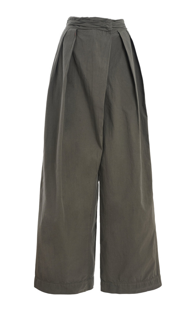 Lemaire Asymmetric Pleated Cotton Ventile® Wide-Leg Trousers in black