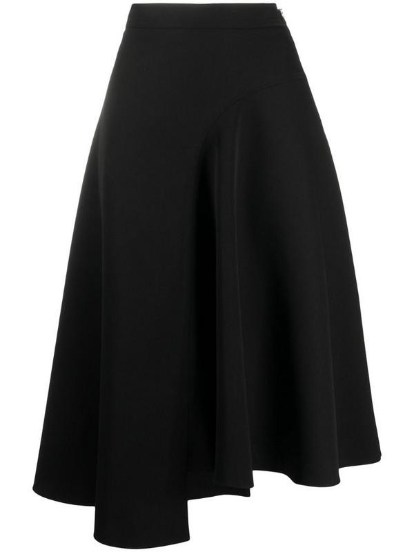 Rochas high-waist asymmetric midi skirt in black