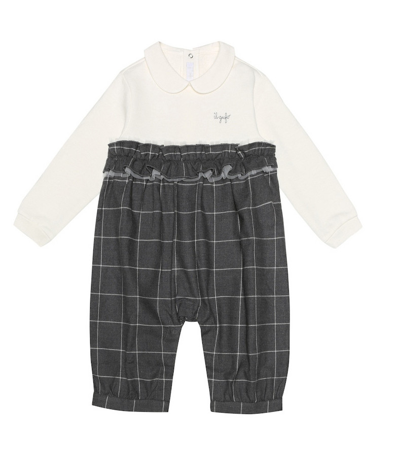 Il Gufo Baby checked cotton playsuit in grey