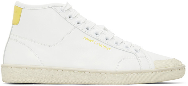 Saint Laurent White & Yellow SL 39 Mid-Top Sneakers