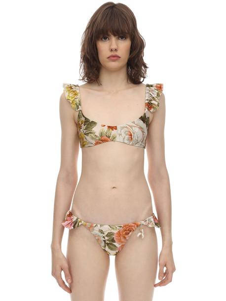 ZIMMERMANN Bonitra Ruffled Lycra Bikini in multi / beige