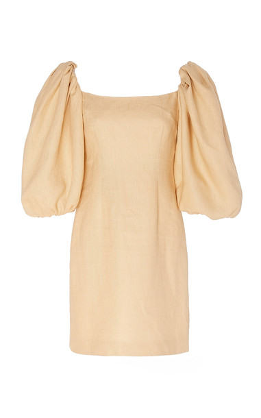 Rebecca de Ravenel First Impressions Linen Mini Dress in neutral