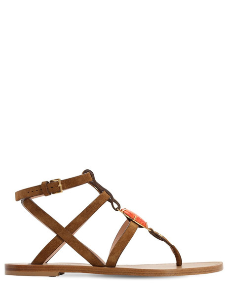 ALBERTA FERRETTI 10mm Embellished Suede Flat Sandals in brown / orange