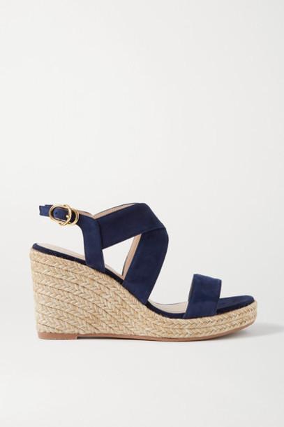 Stuart Weitzman - Ellette Suede Espadrille Wedge Sandals - Midnight blue