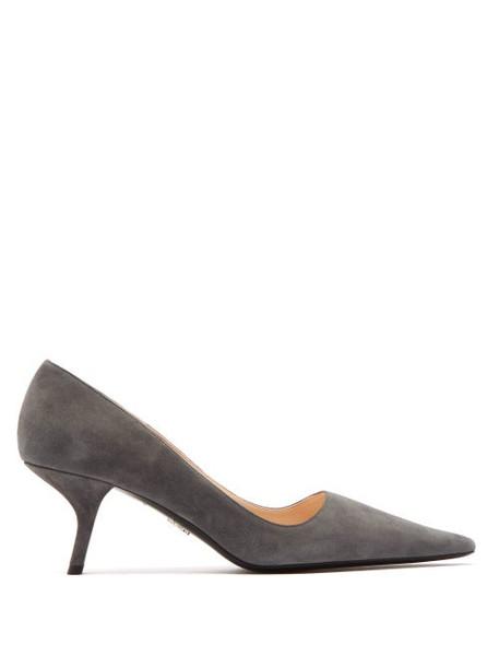 Prada - Angular Heel Suede Pumps - Womens - Grey