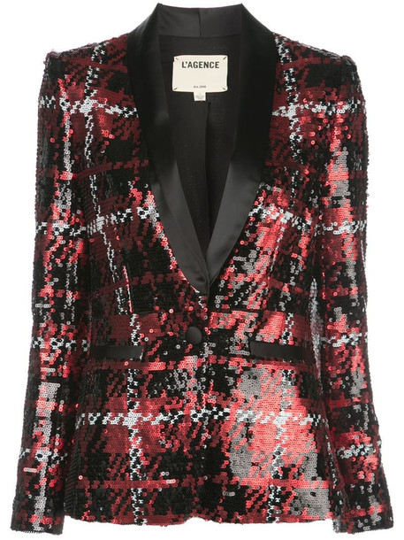 L'Agence sequin tweed blazer in red