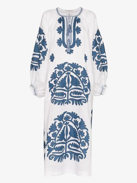 Vita Kin Shalimar embroidered linen dress in white