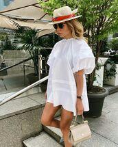 dress,mini dress,white dress,puffed sleeves,hat,handbag,pumps