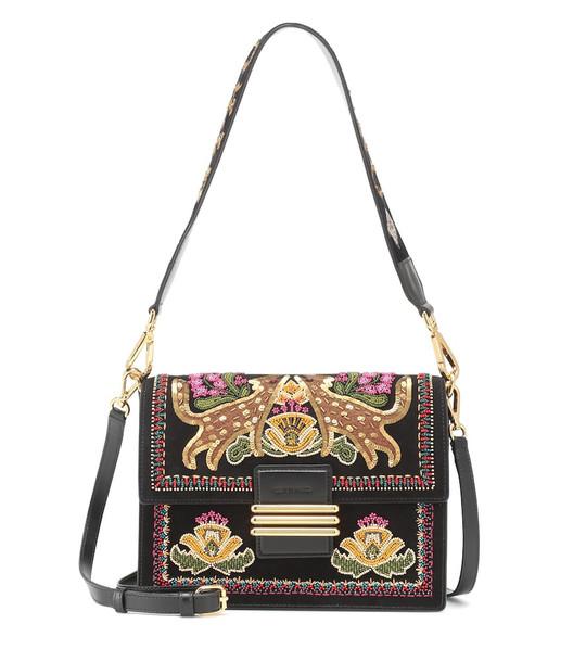 Etro Embellished leather shoulder bag in black