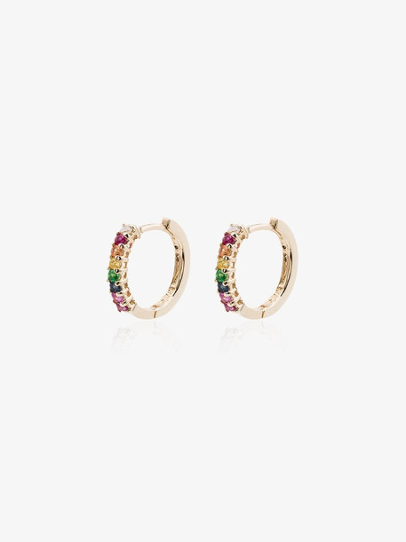 Mateo yellow gold and multicoloured rainbow drop earrings