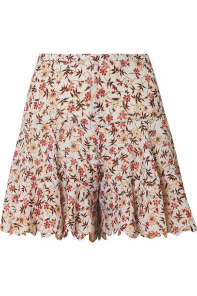 Chloé Chloé - Scalloped Floral-print Georgette Shorts - Off-white