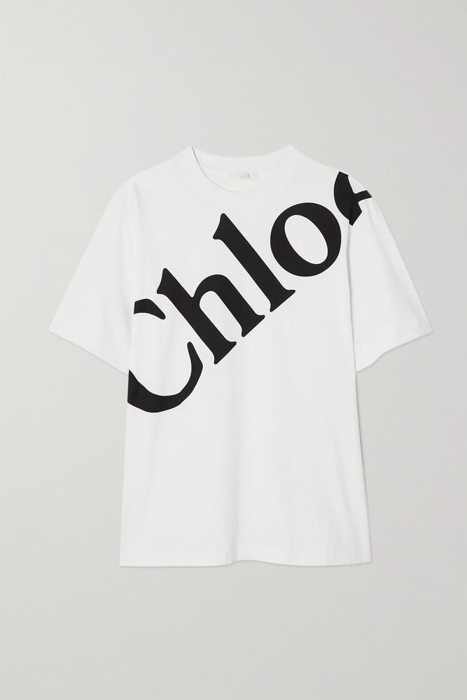 CHLOÉ CHLOÉ - Printed Cotton-jersey T-shirt - White