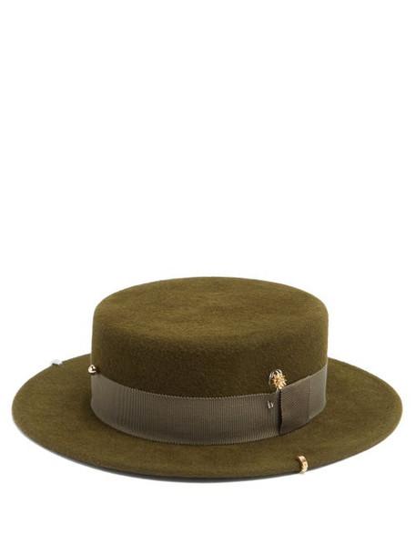 Ruslan Baginskiy - Studded Felt Boater Hat - Womens - Khaki