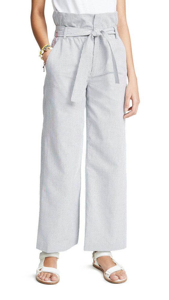 LAVEER Paper Bag Trousers in grey / white