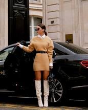 dress,knitted dress,isabel marant,white boots,knee high boots,heel boots,black belt,black bag,white shirt