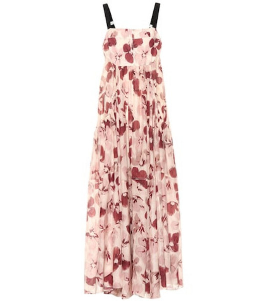 Lee Mathews Exclusive to Mytheresa – Lucinda floral cotton and silk dress in pink