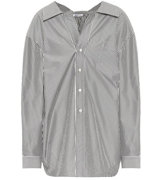 Balenciaga Striped cotton-blend shirt in black