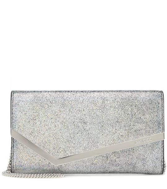 Jimmy Choo Emmie leather clutch in silver