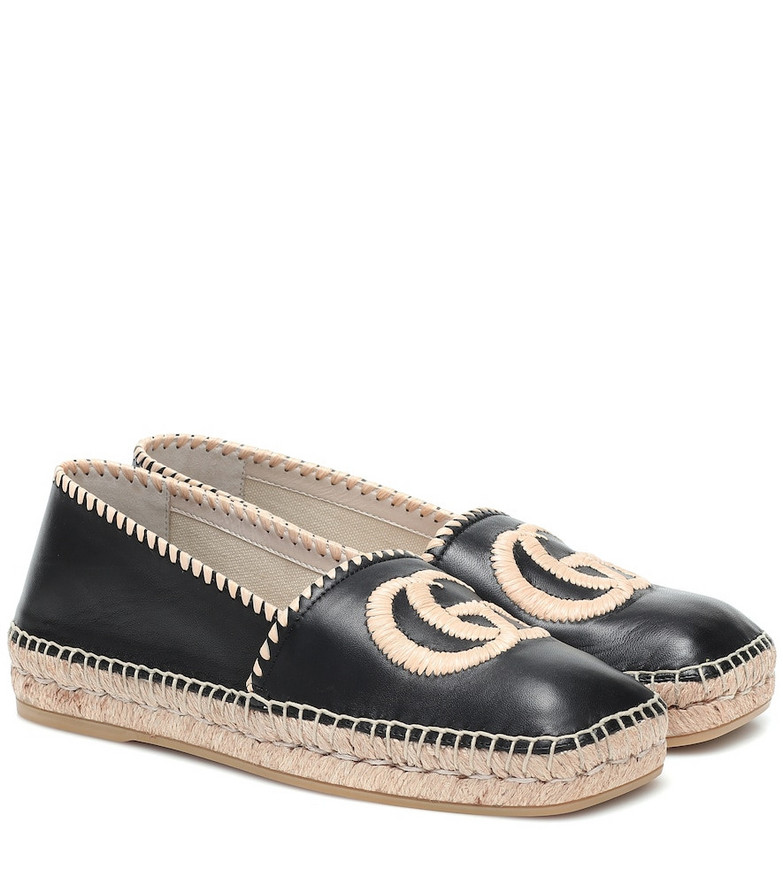 Gucci GG leather espadrilles in black