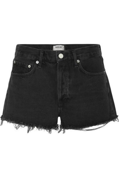 AGOLDE - Parker Frayed Denim Shorts - Black