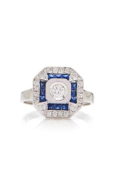 Melis Goral 14K White Gold, Diamond And Sapphire Ring Size: 7