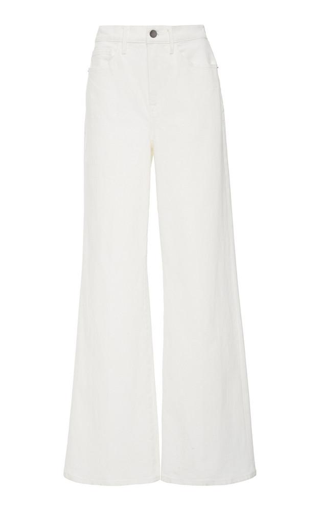 FRAME Le California High-Rise Wide-Leg Jeans in white