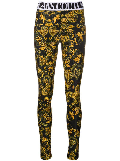 Versace Jeans Couture baroque print leggings in black