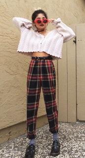 pants,plaid,high waisted,oversized,grunge