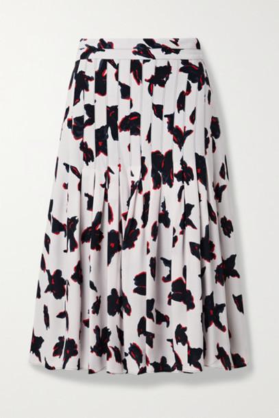 Proenza Schouler - Pleated Floral-print Georgette Midi Skirt - White