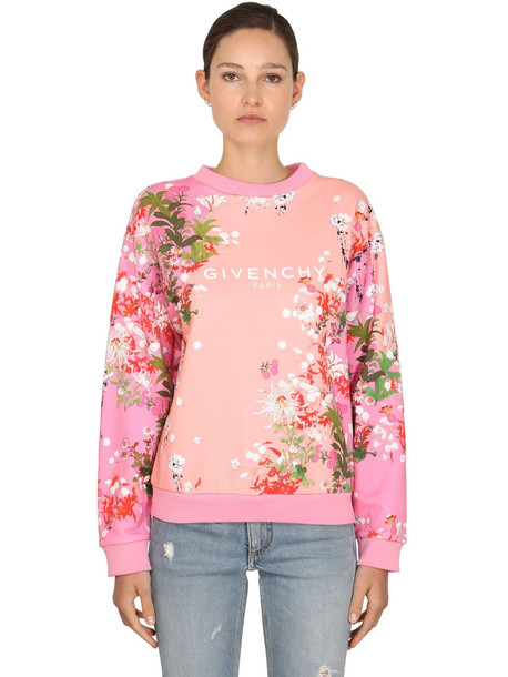 GIVENCHY Flower Printed Cotton Jersey Sweatshirt in pink / multi