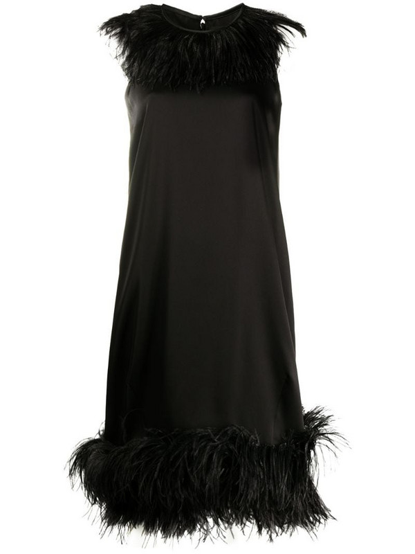 Gianluca Capannolo feather-trimmed satin dress in black
