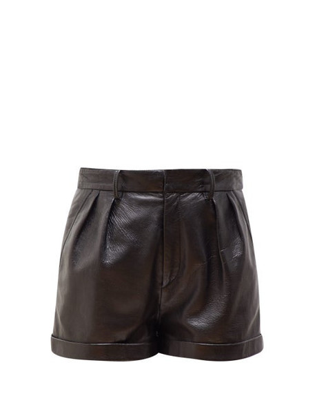 Isabel Marant - Fabot Pleated Leather Shorts - Womens - Black